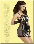 Freches Lack Netz Mini-Kleid ultraknapp schwarz