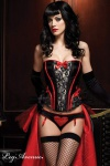 Leg Avenue - Vollbrust Burlesque Korsett mit Spitze schwarz-rot