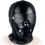 Ledapol - Echt Leder Kopfmaske mit Klappen und Knebel