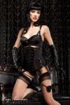 Leg Avenue - Burlesque Satin Mieder BH mit Tüll schwarz