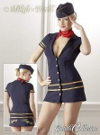 Süßes Stewardess Minikleid mit Kappe und Halstuch blau-gold-rot