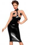 Noir Handmade - Freizügiges Lack Kleid knielang mit Halsband schwarz