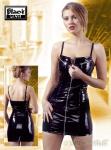 Knappes enges Lack Minikleid mit Reißverschlüssen schwarz