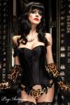 Leg Avenue - Satin Vollbrust Korsett / Corsage im Burlesque-Style schwarz