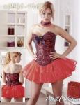 Luxus Korsett / Corsage in Brokat Optik in floralem Design rot-schwarz