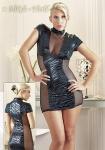 Rassiges Mini-Kleid im Tigerdesign mit Netzeinsätzen schwarz-petrol