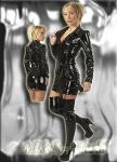 Edler Domina Fetisch Lack Mantel / Kleid schwarz