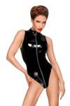 Noir Handmade - Heißer glänzender Lack Body mit 3-Wege-Zip schwarz