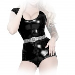 Insistline - Hautenger Datex Kurzarm Body mit 3-Wege-Zip