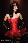Leg Avenue - Satin Vollbrust Korsett / Corsage im Burlesque-Style rot