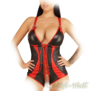 Ledapol - Echt Leder Schnür Pants-Body ouvert schwarz-rot