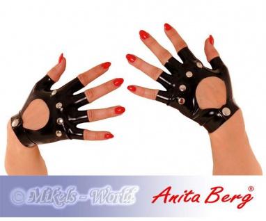 Anita Berg - Kurze fingerlose Latex Handschuhe mit Nieten