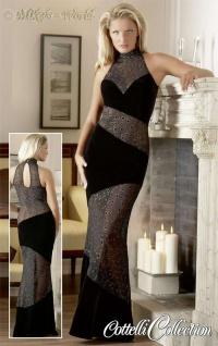 Transparentes Samt Abendkleid mit Glanz Flockprint Kreisen schwarz