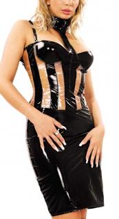 Ledapol - Edles elegantes Lack Mini Kleid schwarz-transparent