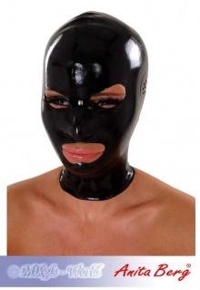 Anita Berg - Enge Latex Zip-Kopfmaske mit Ohr-Perforation