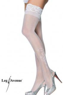 Leg Avenue-Elegante halterlose Motivstrümpfe weiß