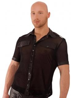Noir Handmade - Transparentes Tüll Wetlook-Shirt mit Knöpfen schwarz