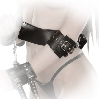 Ledapol - Echt Leder Bondage Bauchgürtel mit Armfesseln