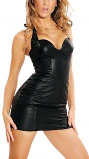 Ledapol - Neckholder Echt Leder Stretch Mini-Kleid mit Zip