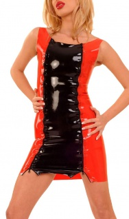 Anita Berg - Zweifarbiges Latex Mini Trägerkleid mit Zip