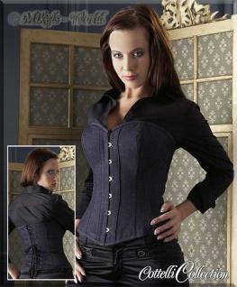Exklusives trendy Jeans-Stoff Korsett / Corsage blau