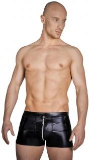 Noir Handmade - Glänzende Herren Wetlook Shorts mit Zip schwarz