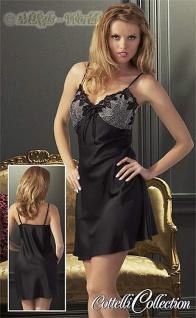 Edel Satin Negligé Kleid mit Stickerei und Spitze schwarz