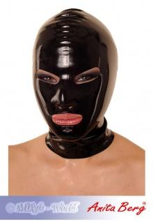 Anita Berg - Latex Zip-Kopfmaske mit Augen- und Mundöffnungen