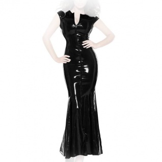 Insistline - Bodenlanges enges Datex Volant-Kleid mit Zip