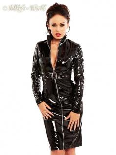 Langärmeliges hochgeschlossenes Lack Kleid mit Zip schwarz