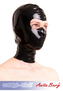 Anita Berg - Latex Zip-Kopfmaske mit offenem Augenbereich