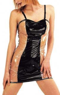 Ledapol - Scharfes Lack Mini Kleid mit sexy Transparenz schwarz-transparent