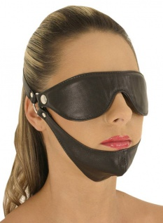 Ledapol - Echt Leder Fetisch Augenmaske mit Kinn