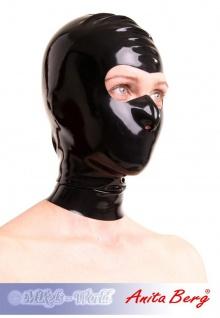 Anita Berg - Latex Zip-Kopfmaske mit offenem Augenbereich - Vorschau