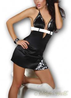 LivCo Glänzendes Neckholder Satin Mini-Kleid & String LALIMA schwarz-weiß