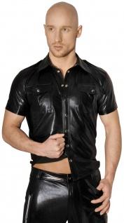 Noir Handmade - Scharfes glänzendes Wetlook Shirt mit Knöpfen schwarz