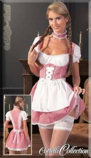 Süßes Dirndl-Set: Mini-Kleid mit Schürze weiß-rot