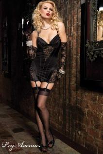 Leg Avenue - Elegantes Spitzen-Strapshemd / Kleid mit Nähten schwarz