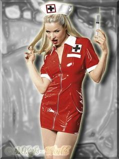 Lack Mini Kleid Krankenschwester mit Haube rot-weiß