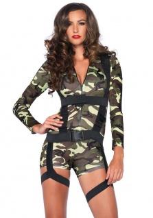 Leg Avenue - Knappes 2-tlg. Goin Commando Overall Kostüm in Camouflage Design - Vorschau 1