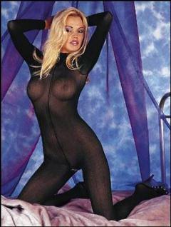 Sexy Langarm Catsuit ouvert schwarz
