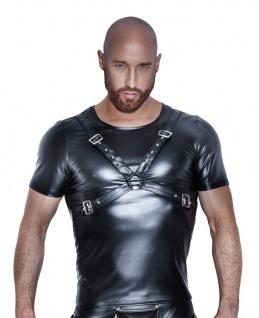 Noir Handmade - Extravagantes Herren Harness Wetlook Shirt schwarz