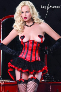 Leg Avenue - Burlesque Satin Unterbrust Korsett / Corsage schwarz-rot