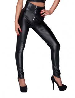 Noir Handmade - Scharfe High-Waist Wetlook Hose mit Schnürung schwarz