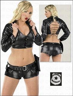 Polizei Kombi: Bustier & Hot Pants schwarz