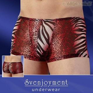 Effektvolle transparente Dschungel Print Pants rot-schwarz-weiß