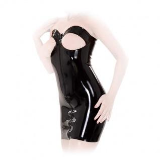 Anita Berg - Trägerloses Latex Zip-Minikleid Brust ouvert