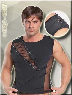 Fishnet Zierschnür Top / Shirt mit Ring schwarz