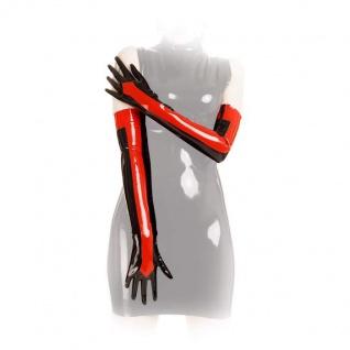 Anita Berg - Lange Latex Zip-Handschuhe schwarz-rot