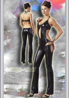 Neckholder Wetlook Party Glanz Overall schwarz